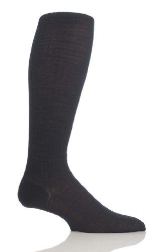 Pantherella Men's 1 Pair Rib Cotton Lisle Knee High Socks 7-9 Black