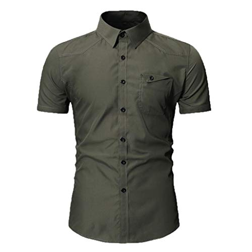 JJLIKER Men's Standard-Fit Short-Sleeve Plain Shirts Button Down Casual Pocket Shirt Tops Slim-Fit Dress Shirt Tees Army Green