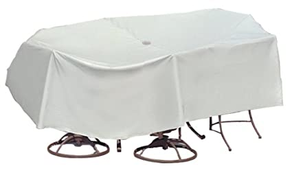 Protective Covers Weatherproof Patio Table and Chair Set Cover, 80 Inch x 96 Inch, Oval/Rectangle Table, Gray