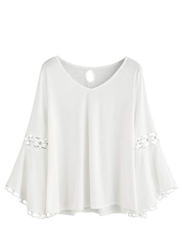 MAKEMECHIC Women's Bell Sleeve V Neck Contrast Crochet Lace Tee Shirt Blouse Top White M