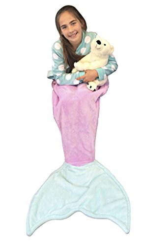 [Mermaid Tail Blanket for Kids Soft Plush Fleece Super Warm Cozy Fabric FREE Bonus e-Book Great Gift with 2 Color Choices by] (Ariel Tail Costumes)