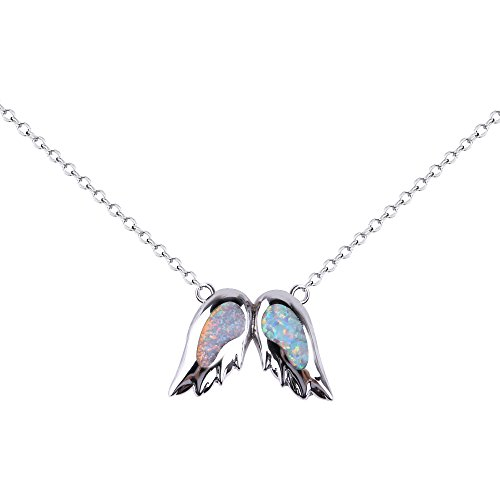 KELITCH Angel Wings Choker Necklace Syuthetic Opal Pendant with 16-18'' Chain by KELITCH (Image #3)