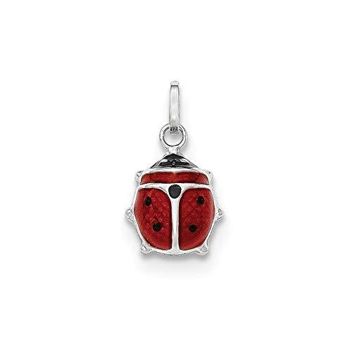Roy Rose Jewelry 14K White Gold Red Enameled Ladybug Charm