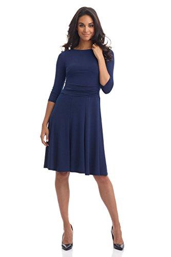 Designer Women Skirt (Rekucci Women's Flippy Fit N' Flare Dress with 3/4 Sleeves (8,Navy))