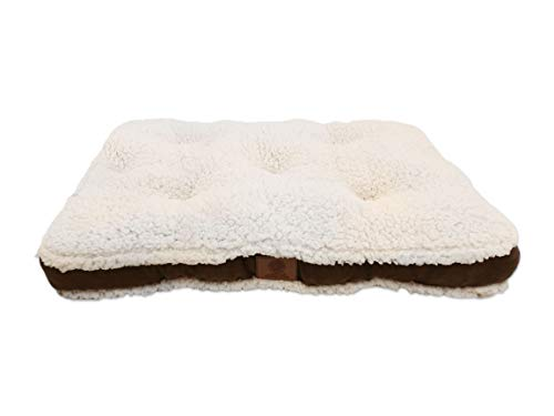 American Kennel Club AKC Medium Suede Sherpa Crate Dog Pet Bed, Brown, 30 inch by 22 inch