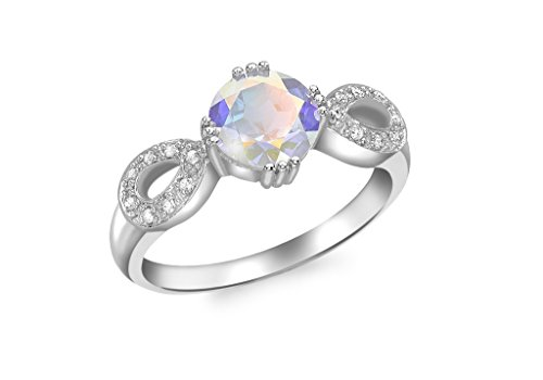 Or blanc 9 ct Bague Diamant et topaze Mercury Mist