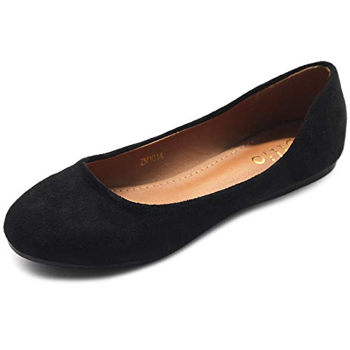 Ollio Womens Shoe Ballet Light Faux Suede Low Heels Flat ZM1014(11 B(M) US, Black)