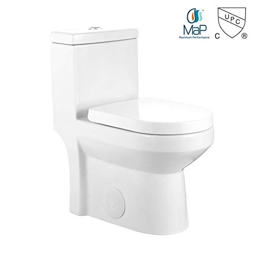 "GALBA Small Toilet 24.5"" Long X 13.5"" Wide X 28.5"" High Inch 1-Piece 24"" 25"" Short Compact Bathroom Tiny Mini Commode Water Closet Dual Flush Shortest Projection Elongated Concealed Trapway"