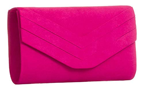 Flap Chain New Womens Suede Faux Clutch Bag Fuchsia Party Handbag Decorated I6ZqA