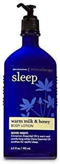 - Bath and Body Works Aromatherapy Sleep Warm Milk and Honey Lotion 6.5 Ounce Original