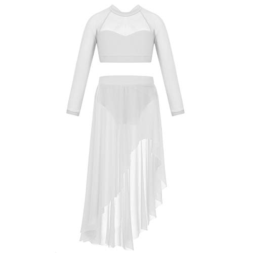 TiaoBug Girls Worship Metallic Praise Robe Dress Long Sleeve Dancewear Liturgical Tunic Skirt Swing Costume White Long Sleeve X-Back Crop Top with Tulle Skirt 10]()