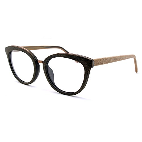 TIJN Women Woodgrain Cateye Eyeglasses Frame Faux Wooden - Eyeglass Frames Wooden