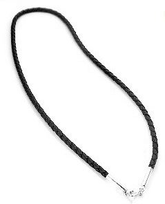 Sterling Silver Black Leather 17