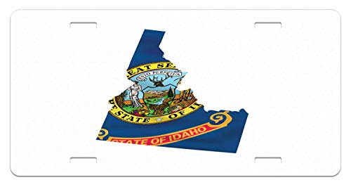(Aoxiananclicensecover Awesome Novelty Floral License Plate - Idaho The Gem State Map with Flag Deer Custom Decorative Front Plate Cover for US Vehicles 4 Holes 12