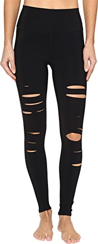 ALO Women's Ripped Warrior Leggings Black Pants by ALO Sport