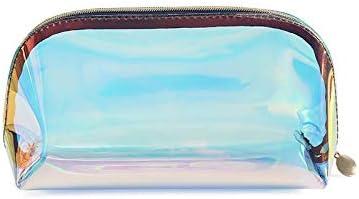 SEEKER Travel Makeup Train Case Makeup Cosmetic Bag Case Organizer Portable Artist Storage Bag Makeup Brushes Toiletry Jewelry Digital Accessories Iridescent