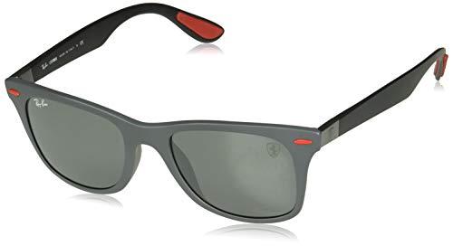 Ray-Ban RB4195MF Scuderia Ferrari Collection Asian Fit Wayfarer Sunglasses, Matte Grey/Grey Mirror, 52 ()