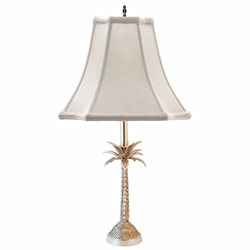 LAMPS - BARBADOS PALM TREE TABLE LAMP - PEWTER FINISH - OFF WHITE SHADE - 25'H
