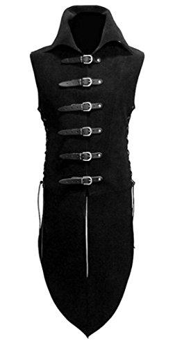 Frieed - Chaleco de piel sintética para hombre, diseño gótico de vaporizador, estilo victoriano, Negro, XS
