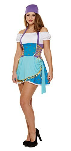 Ladies Sexy Gypsy Fortune Teller Pirate Halloween Fancy Dress Costume Outfit (UK 8-12) -
