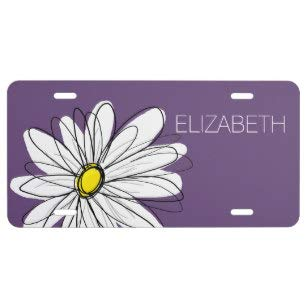 - Purple and Yellow Whimsical Daisy Custom Text License Plate