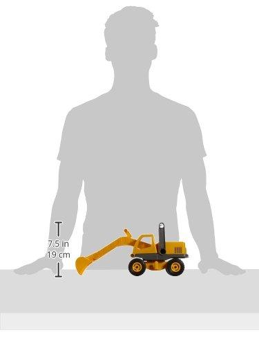 robuster Schaufelbagger mit beweglichen Baggeram und Haltegriff 35 cm Baustellen Spielfahrzeug f/ür Kinder ab 2 Jahre Lena 04211 EcoActives Bagger ca nat/ürlicher Holzgeruch durch Holzanteil