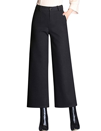 Tanming Women's Thick Wool Blend Cropped Wide Leg Pant Trousers (Medium, ()
