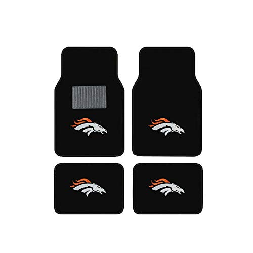 Newly Released Licensed Denver Broncos Embroidered Logo Carpet Floormats. Logo on all 4 Mats. ()