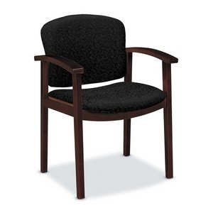 Hon Executive Upholstered Guest Chairs - HON 2111NBE11 2111 Invitation Series Wood Guest Chair, Mahogany/Raven Fabric