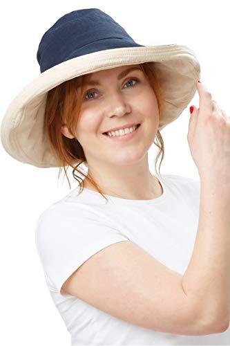 (Sun Hats Women Bucket Floppy Cotton Hat Wide Brim Summer Beach Caps Packable UV UPF 50+ Navy Blue)