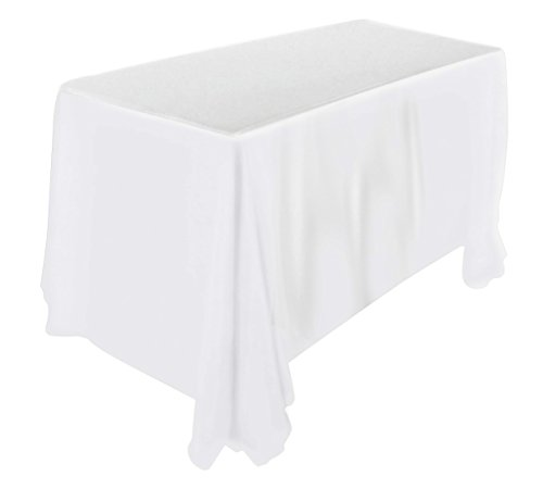 Utopia Kitchen  90 by 132-Inch, White Tablecloth, 100 Percent Polyester Rectangular Table Cover