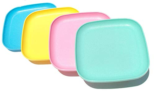 Tupperware Square 8 Inch Luncheon Plates Spring Pastels Set of 4 - Green Luncheon Plate