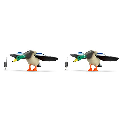 2 Pack Twin Duck Hunting Decoy Unlimited Ultimate Hunt Wireless Remote Controlled Spinning Wings Full Size Set With Stakes, Keychain FOB and Battery Holders x 2 Waterfowl Mallard Blue Wing Teal Baby