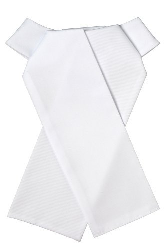 Ovation, Euro Cotton Pre-Tied Stock Tie White Small