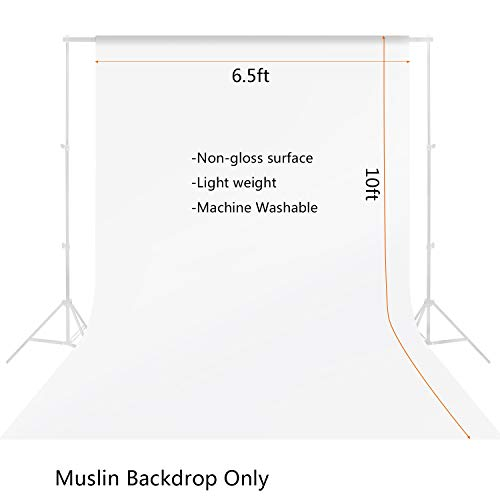 6.5ft x 10ft Professional White Photo Studio Muslin Backdrop for Photography Cotton Chromakey Background Screen for Photo Video by MOUNTDOG(Stand NOT Included)