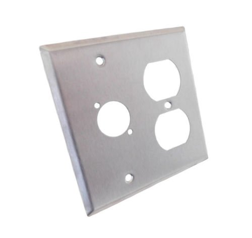 ProCraft Stainless Steel 2 Gang Wall Plate/ AC Duplex 1 XLR ''D'' Style Hole