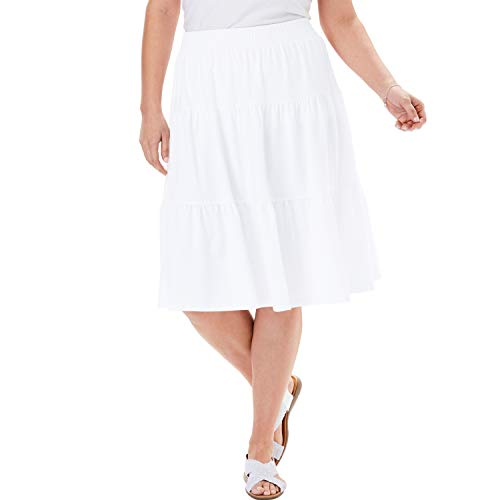 Woman Within Women's Plus Size Jersey Knit Tiered Skirt - White, 14/16