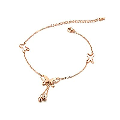 KnBoB Silver Plated Anklet Women with Pendant Butterfly Bell Zirconia Beach Barefoot Foot Chain Rose Gold supplier