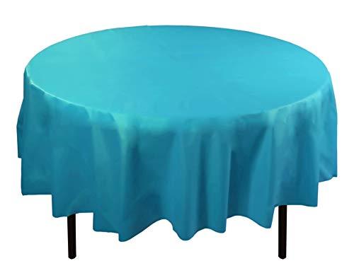 Exquisite 12-Pack Premium Plastic Tablecloth 84in. Round Table Cover - Turquoise ()
