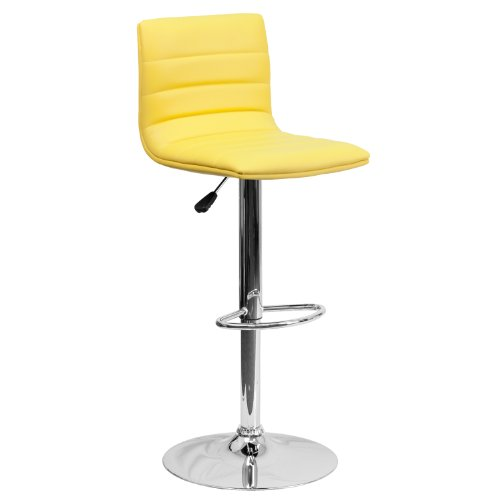 Flash Furniture Contemporary Yellow Vinyl Adjustable Height Barstool with Chrome Base Contemporary Round Upholstered Chair