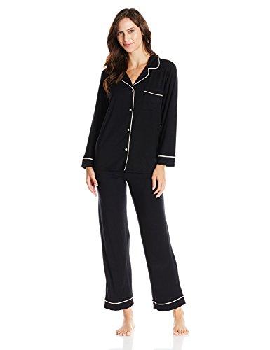 eberjey Women's Gisele Two-Piece Long Sleeve & Pant Pajama Sleepwear Set, Black, Medium