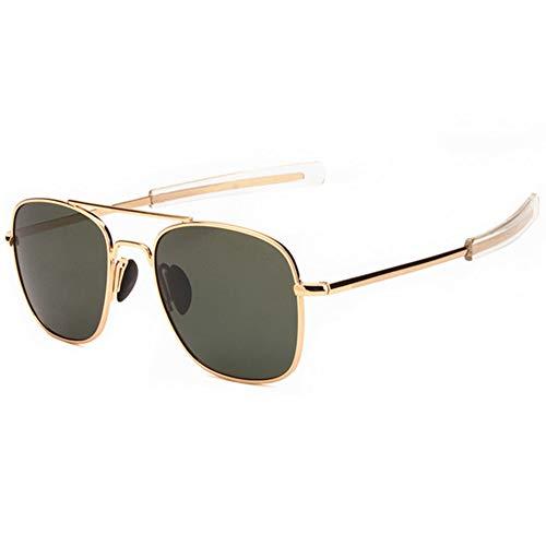 Mens Womens Polarized Avaitor Sunglasses Ultra Lightweight Rectangular Frame, 100% UV protection, Gold Frame Green Lens, 55mm ()