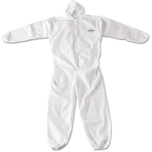 KleenGuard A20 Breathable Particle Protection Coveralls, Attached Hood, 3XL, White, -