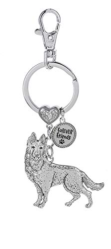 Dog Lovers Forever Friends Zinc Key Chain w/Clip -German ()