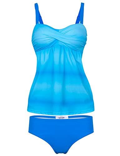 LAZOSAL Womens Swimsuit Ruched Tankini Boyshort Color Block Two Piece Bathing Suit S-XXXXL Light Blue