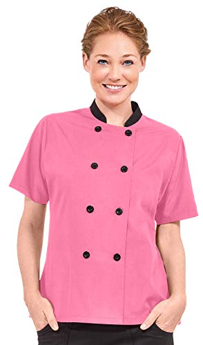 Women's Lightweight Short Sleeve Chef Coat (XS-3X, 3 Colors) (Medium, Pink/Black) ()