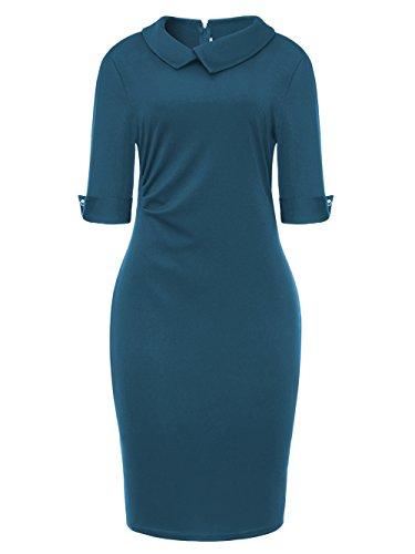 Pencil Skirt Dress (BETTE BOUTIK Women's Retro Wrap Skirt Formal Office Dress Pencil Dress Bodycon Below Knee Blue Medium)