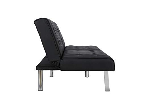 DHP Emily Futon Sofa Bed, Modern Convertible Couch With Chrome Legs Quickly Converts into a Bed, Black Faux Leather