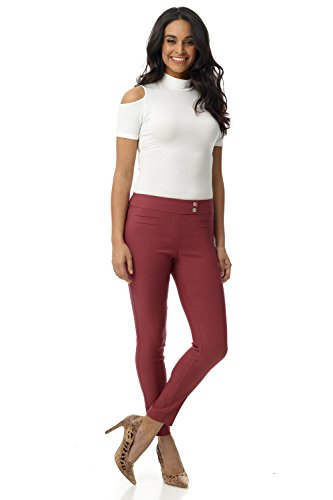 Rekucci Women's Ease in to Comfort Slim Ankle Pant with Snaps (12,Desert Rose)