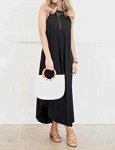 Halife Women's Sleeveless Racerback Loose Plain Maxi Dress Casual Long Dresses Black.S